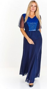 Granatowa sukienka M&sz z tkaniny