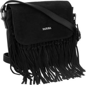 Czarna torebka Badura z frędzlami na ramię z zamszu