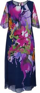 Sukienka Inna z szyfonu z okrągłym dekoltem z krótkim rękawem