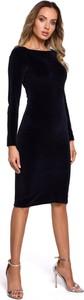 Czarna sukienka MOE ołówkowa z okrągłym dekoltem z długim rękawem