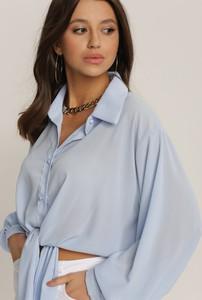 Niebieska bluzka Renee z długim rękawem w stylu casual