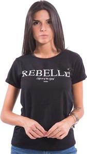 Czarny t-shirt Fracomina z krótkim rękawem
