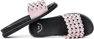 Różowe klapki Royalfashion.pl w stylu casual z płaską podeszwą