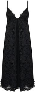 Czarna sukienka Ermanno Firenze na ramiączkach mini z dekoltem w kształcie litery v
