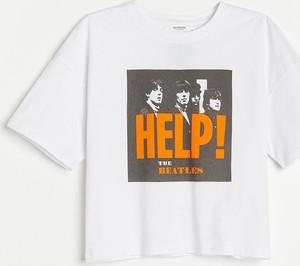 T-shirt Reserved z krótkim rękawem w młodzieżowym stylu z bawełny