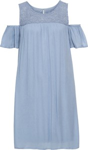 Niebieska sukienka bonprix BODYFLIRT z krótkim rękawem midi