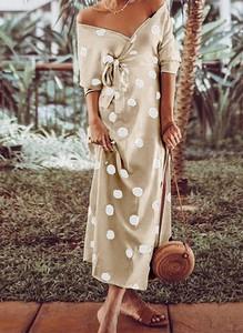 Sukienka Cikelly z dekoltem w kształcie litery v midi kopertowa