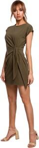Zielona sukienka MOE z krótkim rękawem mini