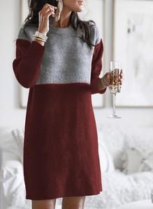 Czerwona sukienka Cikelly midi prosta w stylu casual