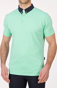 Miętowa koszulka polo Lanieri z krótkim rękawem z bawełny