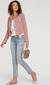 Różowa kurtka Heine ze skóry