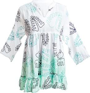 Sukienka Sigris Moda z dekoltem w kształcie litery v z długim rękawem