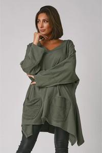 Zielona bluzka Plus Size Company z długim rękawem z dekoltem w kształcie litery v
