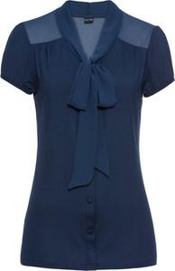 Niebieska bluzka bonprix BODYFLIRT z szyfonu ze sznurowanym dekoltem