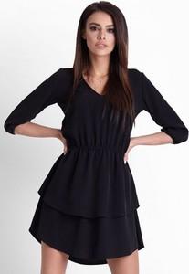 Granatowa sukienka Ivon w stylu casual z długim rękawem mini