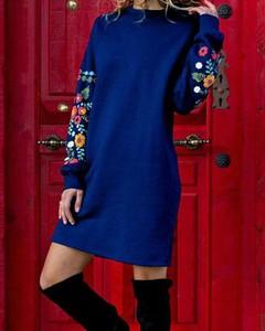 Niebieska sukienka Kendallme prosta z okrągłym dekoltem w stylu casual