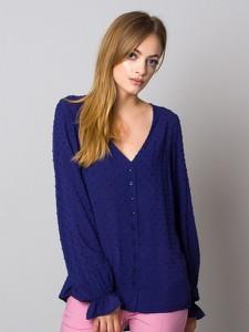 Granatowa bluzka Willsoor w stylu casual z tkaniny z długim rękawem