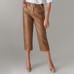 Brązowe spodnie Mohito ze skóry ekologicznej