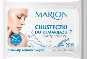 Marion, Make-up Remover Wipes, chusteczki do demakijażu twarzy oczu i szyi, sucha i wrażliwa skóra, 20 szt.