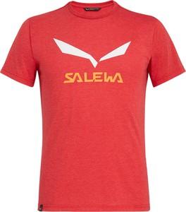 Czerwony t-shirt Salewa z bawełny