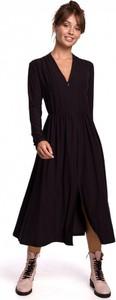 Czarna sukienka Be z dekoltem w kształcie litery v midi