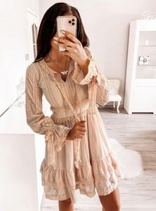 Sukienka Pakuten w stylu casual mini z długim rękawem