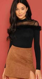 Czarna bluzka Duuf z długim rękawem w stylu casual