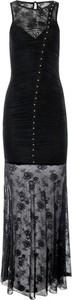 Czarna sukienka Guess z okrągłym dekoltem maxi bez rękawów
