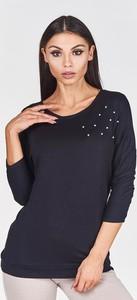Granatowa bluzka Fokus z długim rękawem z okrągłym dekoltem