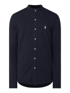 Granatowa koszula POLO RALPH LAUREN ze stójką z bawełny z długim rękawem