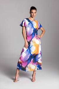 Sukienka Tarionus S.c. trapezowa maxi z krótkim rękawem