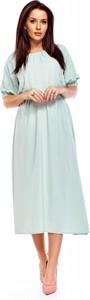 Sukienka QUARELLE midi z okrągłym dekoltem z długim rękawem