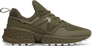 Zielone buty sportowe New Balance w młodzieżowym stylu 574 sznurowane