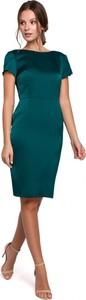 Zielona sukienka Makover ołówkowa z krótkim rękawem