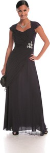 Czarna sukienka Fokus z tkaniny z krótkim rękawem z dekoltem w kształcie litery v
