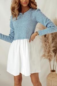 Niebieska sukienka Shopaholics Dream koszulowa