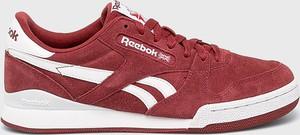 Czerwone buty sportowe Reebok Classic z zamszu sznurowane