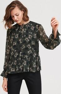 Czarna bluzka Reserved ze sznurowanym dekoltem z długim rękawem