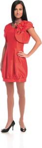 Sukienka Fokus z okrągłym dekoltem bombka z krótkim rękawem
