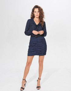 Niebieska spódnica Mohito z żakardu
