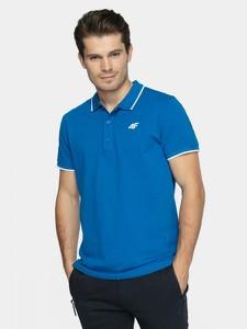 Niebieska koszulka polo 4F w sportowym stylu z bawełny z krótkim rękawem