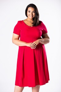 Czerwona sukienka Ptakmoda.com dla puszystych