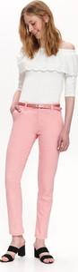 Różowe spodnie Top Secret z tkaniny w stylu klasycznym