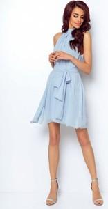Niebieska sukienka Ivon mini rozkloszowana bez rękawów