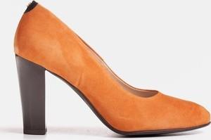 Czółenka Marco Shoes z zamszu na wysokim obcasie