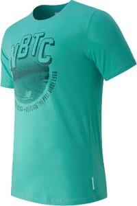 Turkusowa koszulka New Balance w młodzieżowym stylu z krótkim rękawem