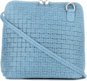 Niebieska torebka GENUINE LEATHER w stylu casual na ramię