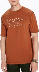 Brązowy t-shirt Scotch & Soda z krótkim rękawem
