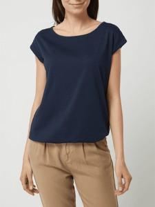 Granatowa bluzka Montego z okrągłym dekoltem w stylu casual