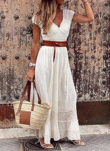 Sukienka Sandbella z krótkim rękawem w stylu boho z dekoltem w kształcie litery v